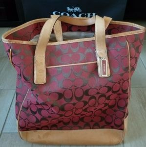Coach red travel/diaper bag